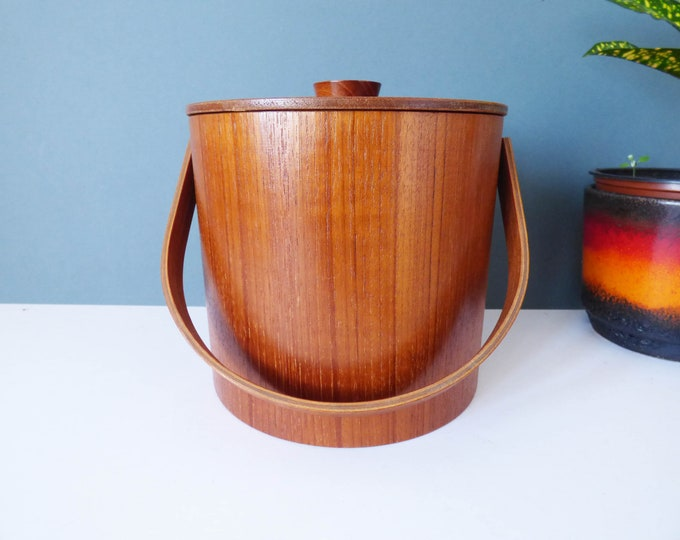 Ice Bucket vintage 1960's bent teak ply