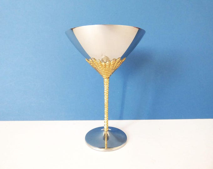 1970's Stuart Devlin cocktail goblet stainless steel gold plated