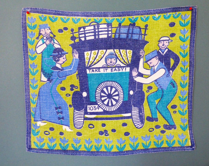 Vintage Scandinavian cotton printed place mat