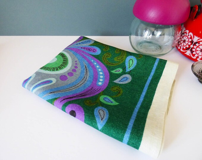 Vintage 1970's Psychedelic flower power tea towel