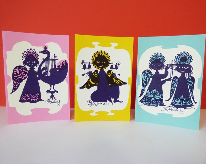 Bjorn Wiinblad 3 x Greetings cards playing musical instruments
