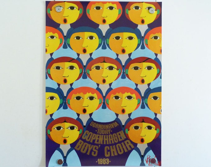 Bjorn Wiinblad Copenhagen Boys Choir print poster original 1983