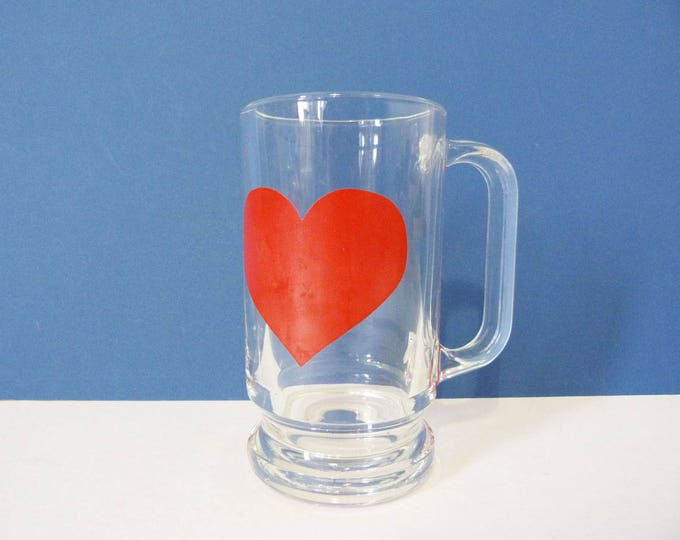 Glass Heart mug 1970's vintage