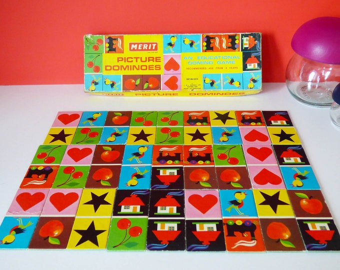 Complete vintage Merit picture dominoes