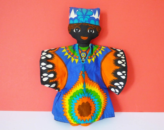 Vintage 1970's African doll cloth doll in traditional dress