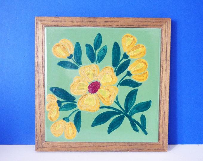 Flower tile trivet Vintage Mid Century