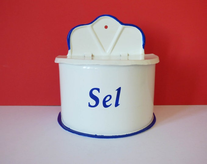 Vintage French Enamel salt pot