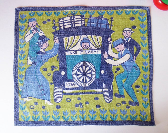 Vintage Scandinavian cotton printed place mat