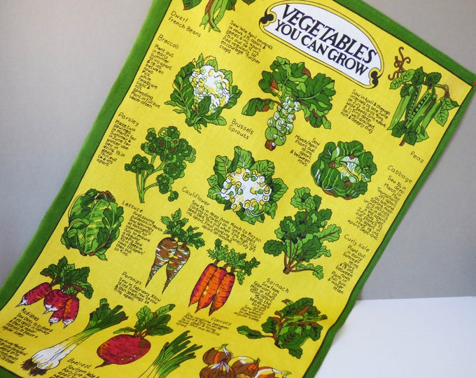 Vintage vegetable you can grow tea towel by Ulster of Ireland