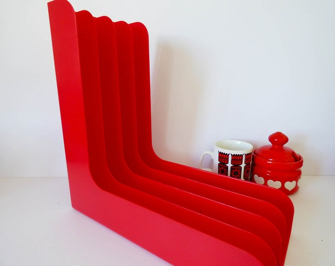 Vintage record rack holder 1970's red plastic