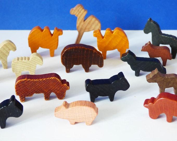 Vintage West German wooden wild and farm animals