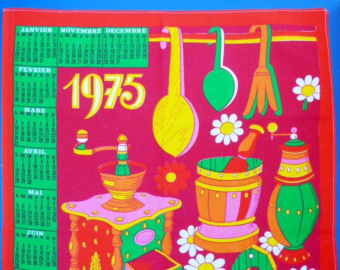 Vintage 1975 French wall hanging calendar
