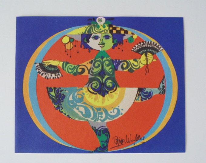 Bjorn Wiinblad Colombina vintage Greetings card