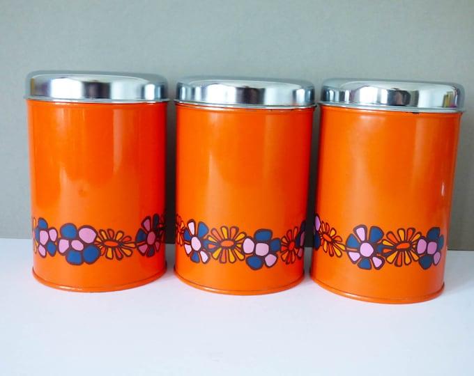 Metal storage tins by Brabantia flower power Vintage