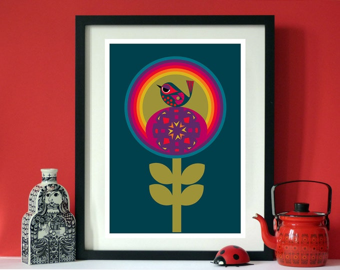 Flower Bird Print by Jay Kaye A3 Rainbows Birds and Flower Power
