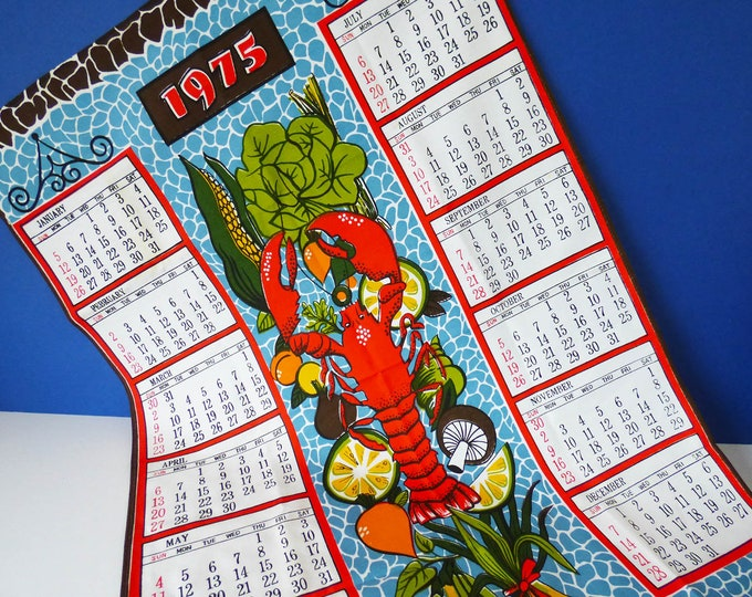 Vintage 1975 cooking calendar wall hanging / tea towel
