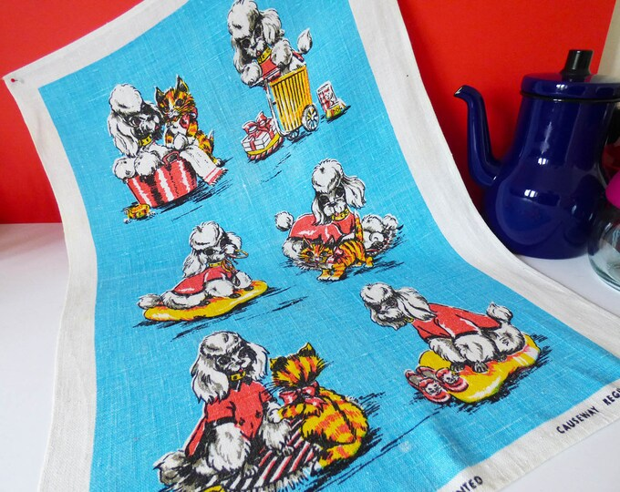 Vintage Poodle / Spaniel tea towel by Causeway