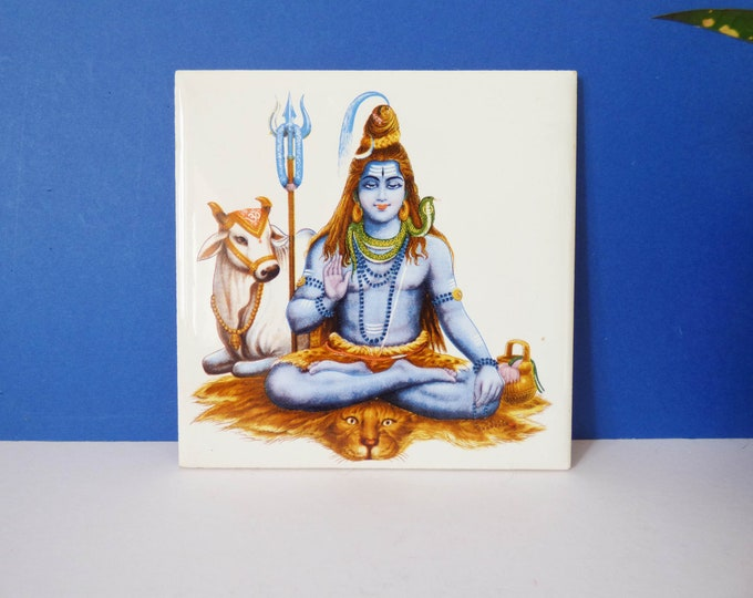 Vintage tile Lord Shiva Hindu god