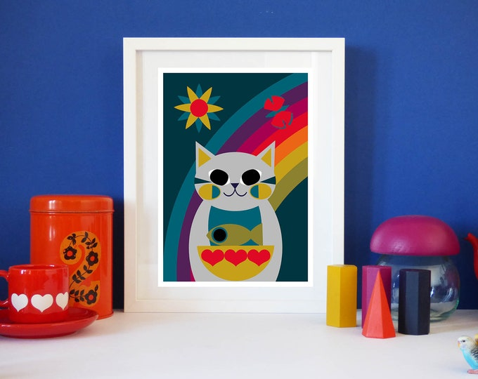 Rainbow Kitty by Jay Kaye A4 or A3 sized print cat kitty bright