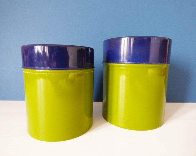 2 matching metal storage tins vintage 1970's