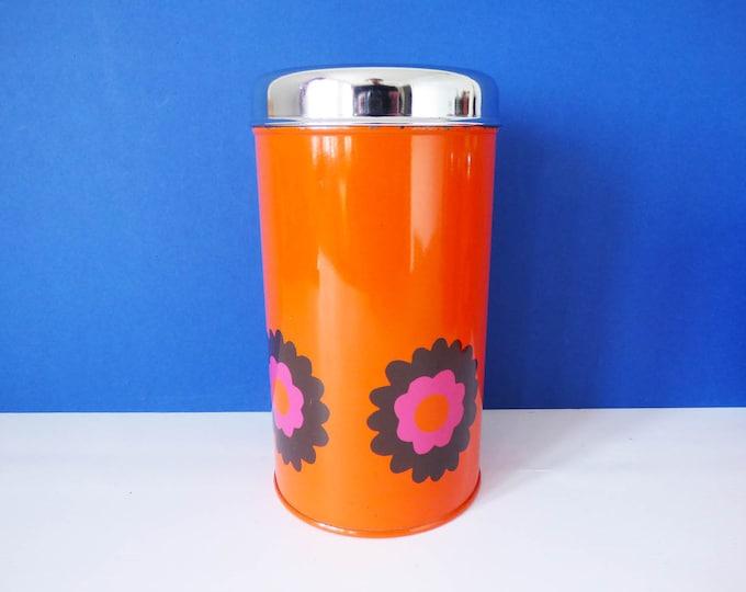 Metal storage tin by Brabantia daisy pattern