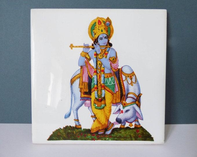 Vintage tile Krishna Hindu god