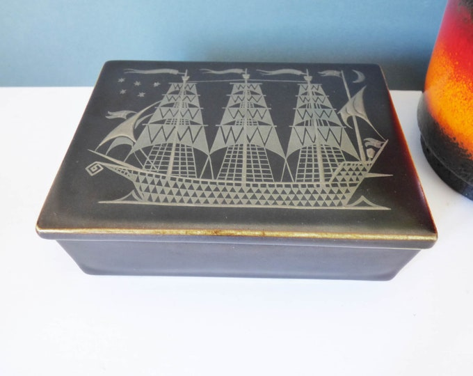 Gustavberg ceramic box Sven Jonson Sweden Facett 8