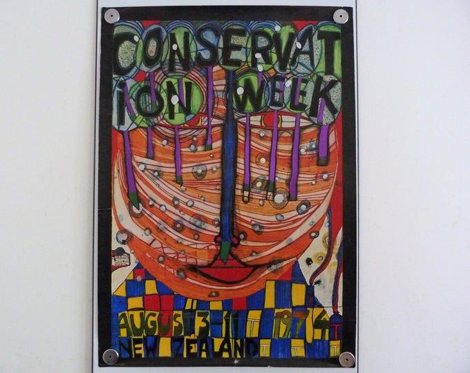 Hundertwasser Conservation week 1974 Original poster Vintage