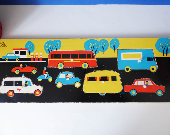 Galt Traffic Tray Jigsaw Puzzle Vintage wooden MCM Retro