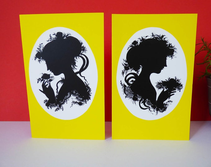 Bjorn Wiinblad Silhouette portrait Greetings cards