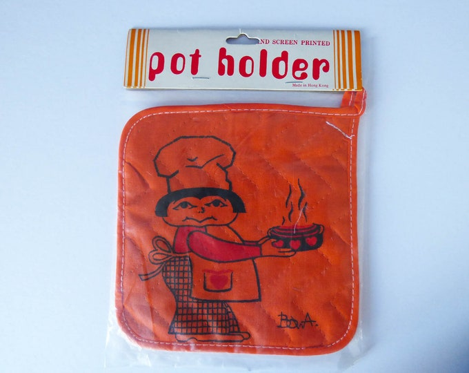 1970's  pot holder Chef power