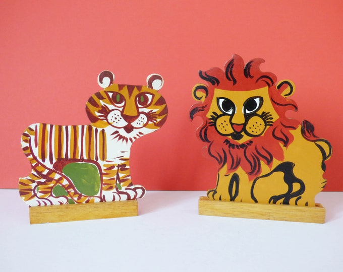 Wooden Tiger and Lion  1960's