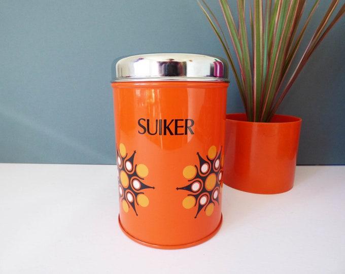 Vintage storage tin sugar caddy flower power