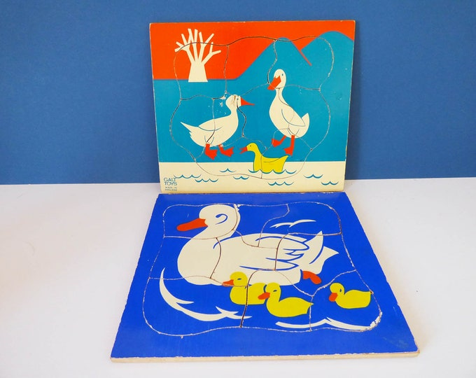 Vintage wooden duck puzzles Galt and Kiddicraft