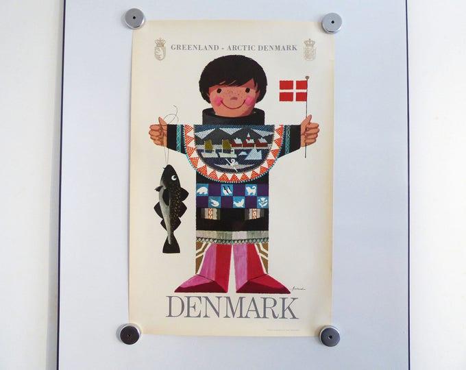 Ib Antoni travel poster Greenland Denmark Scandinavian retro vintage 1960's print