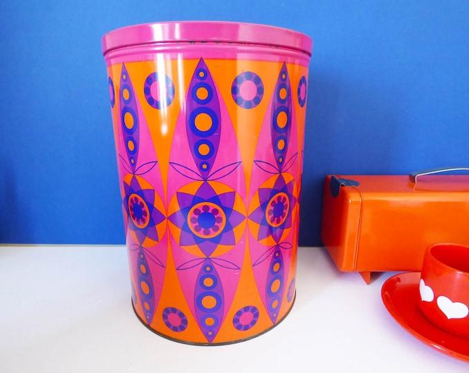 Metal storage tin by Tomado flower power XX large size