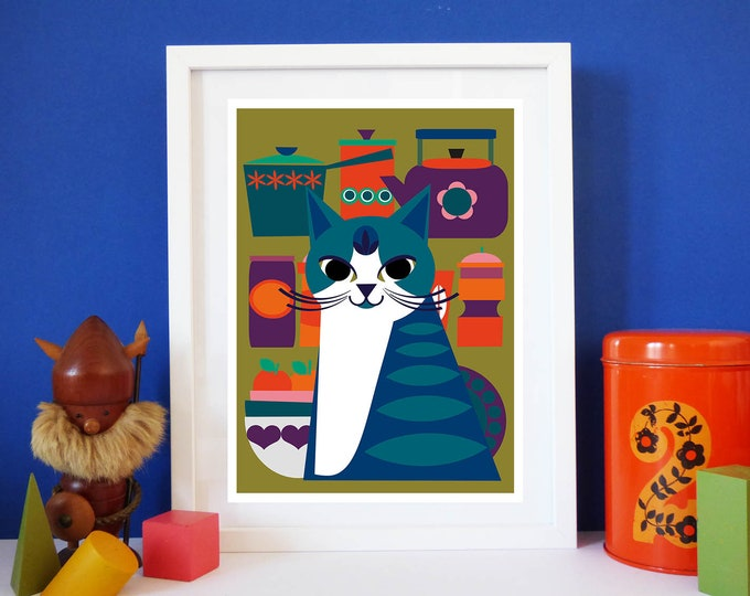 Berties Vintage by Jay Kaye A4 or A3 sized print cat kitty bright