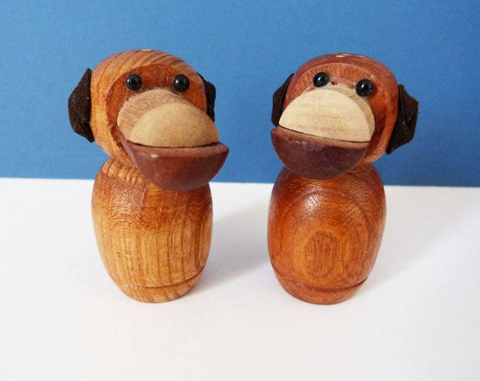1970's Wooden dog salt and pepper set
