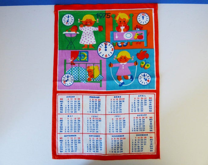 Vintage fabric 1975 wall calendar
