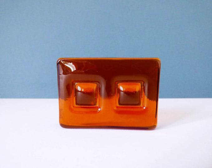 Amber Danish glass nougat , paperweight vintage