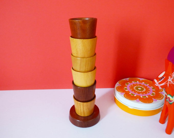 1970's  Mixed wood eggcups on stand, Vintage
