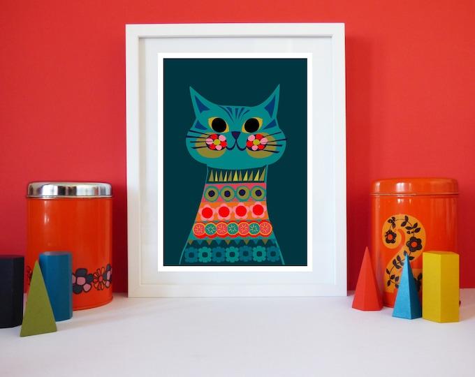 Bella Cat by Jay Kaye A3 or A4 print Bright  Colourful print wall Art Fun