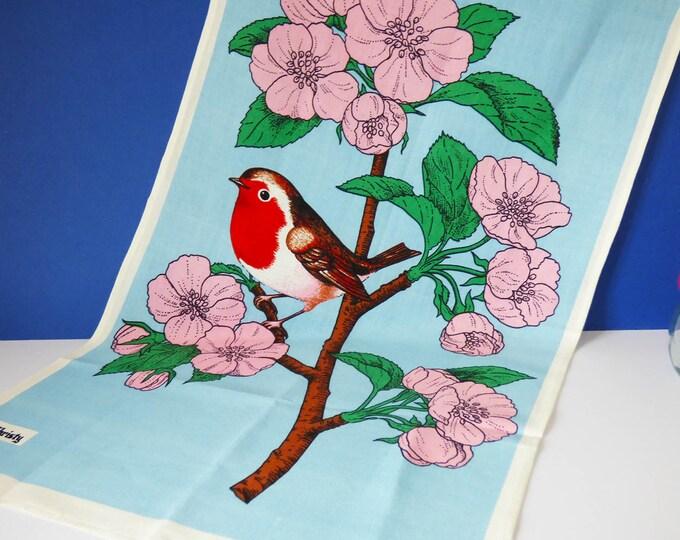 1960s Robin Bird tea towel