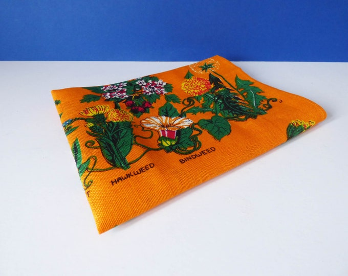 Vintage Irish linen tea towel Wild flowers