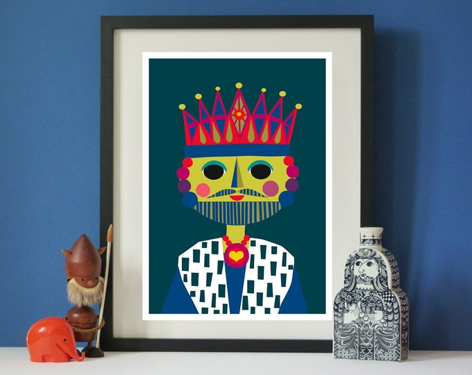 The King by Jay Kaye  A4 or A3 print  Bright  Colourful print wall Art Fun
