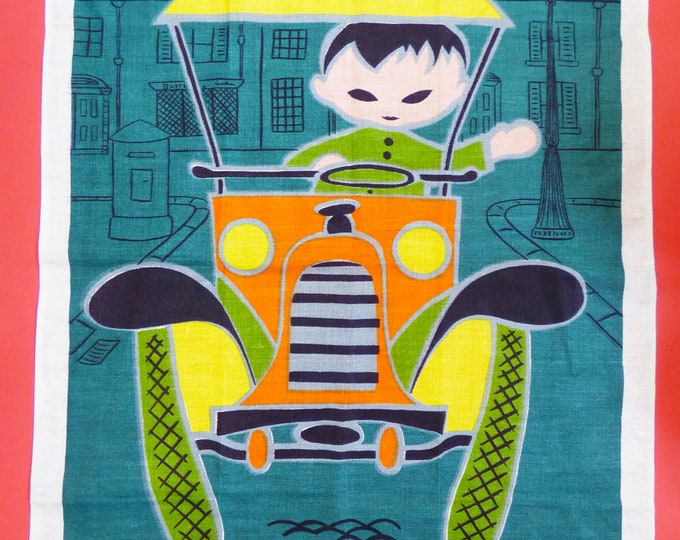 Tea towel Vintage car illustration Lamont Irish Linen 1960s