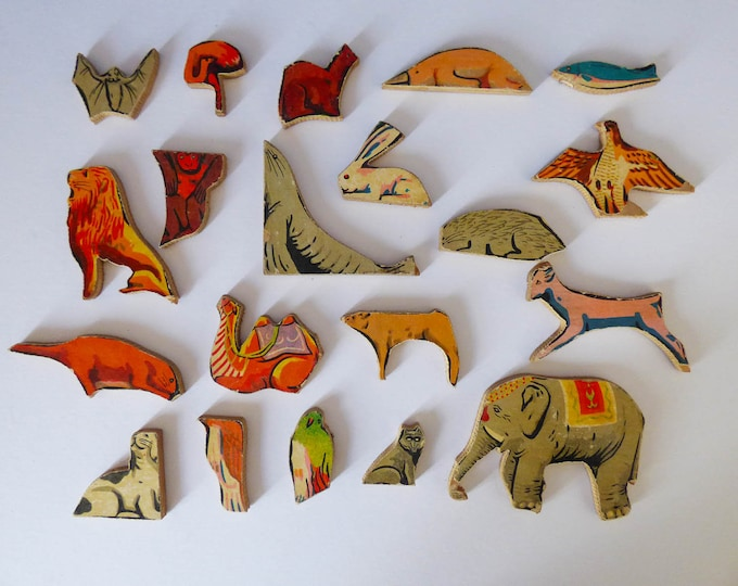Vintage animal puzzle pieces