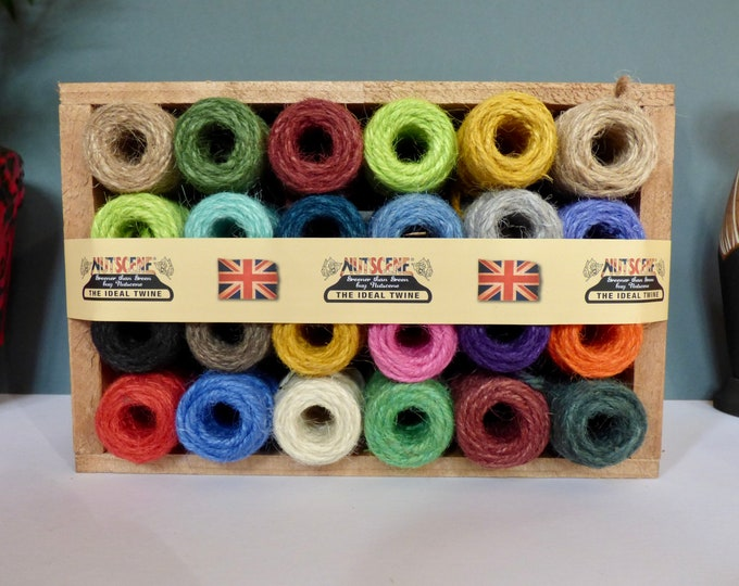 Natural twine wooden crate 24 rainbow spools.
