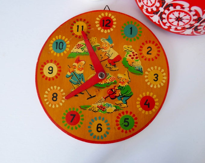 Vintage wooden toy clock