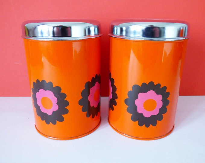 Metal storage tins by Brabantia flower power Vintage